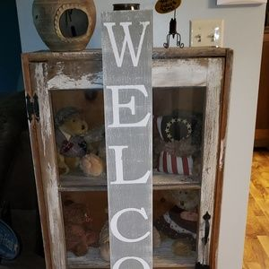 4' Gray Farmhouse Vertical Rustic WELCOME Sign